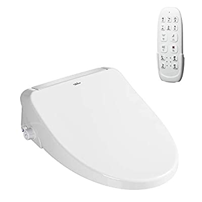 LAZHOME Elongated Bidet Toilet Seat Smart Heated Bidet Toilet Bowl Seat with Remote Control Warm Air Dryer Strong Wash Mode (White)