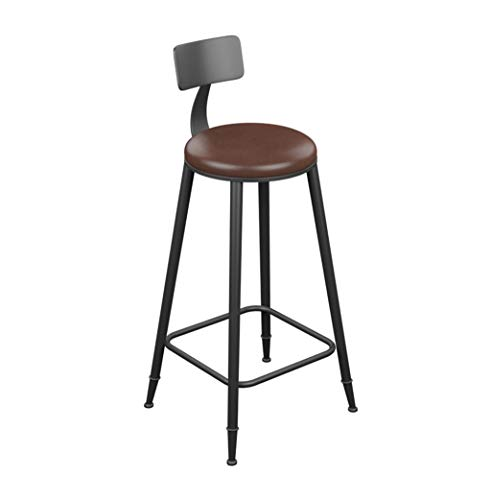 Barstool Vintage Style Round Wrought Iron Bar Stools Wooden Bar Stools for Kitchens Leather Cushion Breakfast Chair Black (Seat Height 45/60/68/73/78/85 cm) (Color : Leather, Tamaño : 73CM)