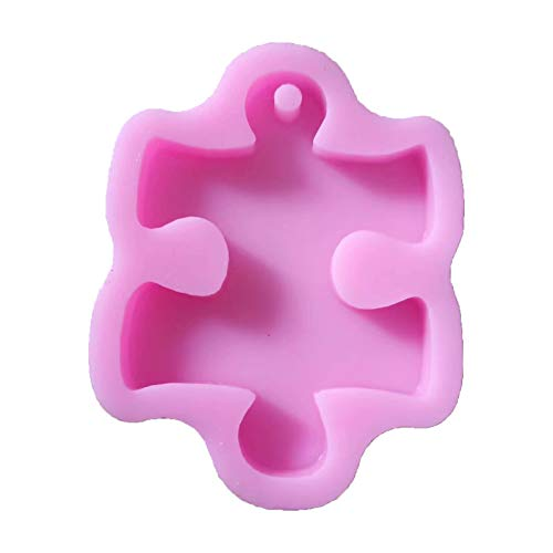 zhiwenCZW Puzzle Maple Leaf - Molde de silicona para jabón de yeso con agujero para decoración de tartas, fondant de chocolate