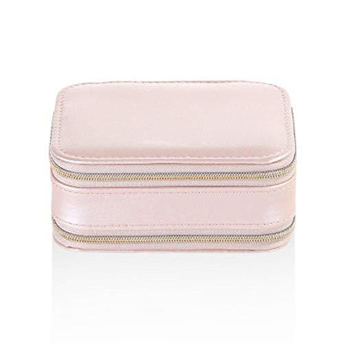 POMNEFE Joyero, caja de joyería con cremallera de doble cara, caja de joyería de cuero para mujer, caja de joyería portátil, caja de almacenamiento de joyas de viaje