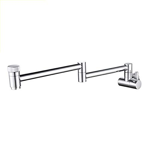 FFAN Faucet, Wall Folding, Kitchen Sink, Folding Omnipotent, Double Switch Faucet, Silver Chrome Plating, Black Wire Drawing Process, Two-Tone, Brass Material Nice Family