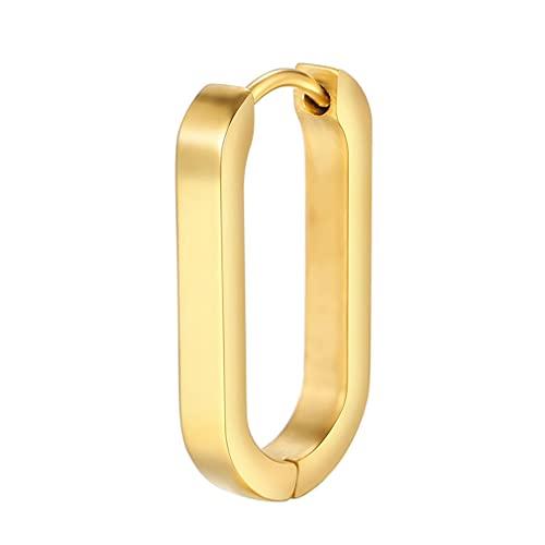 RHNE 1 par de Pendientes pequeños Simples en Forma de U de Metal Pendientes de aro ovalados geométricos para Mujer Pendientes de Moda Regalos Oro 20 * 10 * 3mm