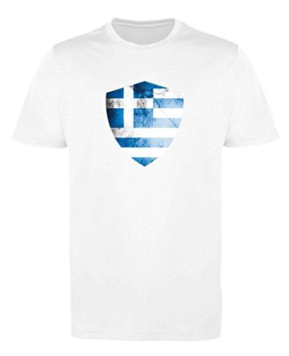 Comedy Shirts - Griechenland Trikot - Wappen: Groß - Wunsch - Jungen Trikot - Weiss/Blau Gr. 122-128