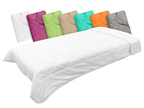 npluseins Leichtsteppbett in 3 Größen und in 7 modernen Farben, ca. 135 x 200 cm, weiß
