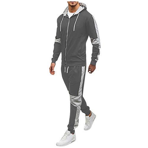 DAY8 Abito Completo Uomo Sportivi Tute Uomo Sportive Invernali Abbigliamento Uomo Sportivo Tuta Felpata Uomo con Cappuccio Inverno Taglie Forti Invernale Streetwear Felpa + Pantaloni (Grigia, XXXL)