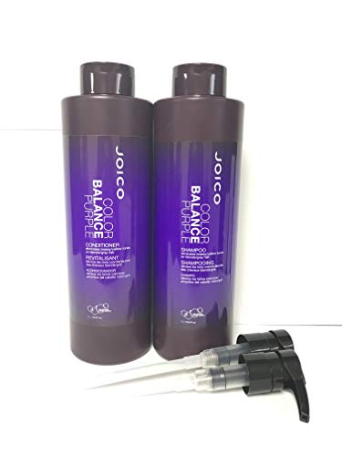 Joico Color Balance Purple Shampoo and Conditioner 33.8 oz Duo WITH PUMP