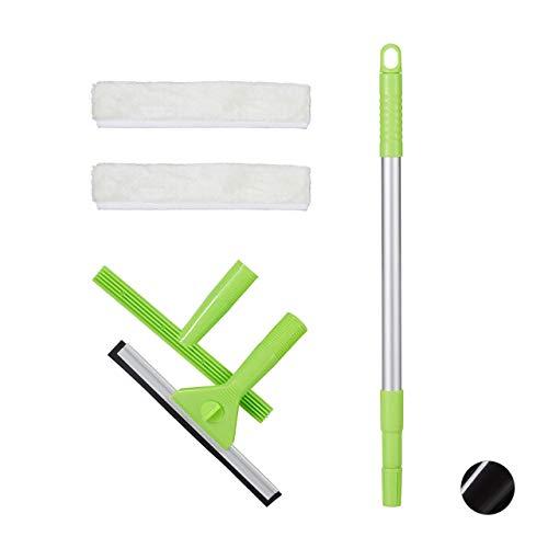 Relaxdays Fensterreinigungsset, 5-teiliges Profiset, Fensterabzieher & -einwascher, 2 Bezüge, mit Teleskopstange, grün, HxBxT: 5x25x66cm