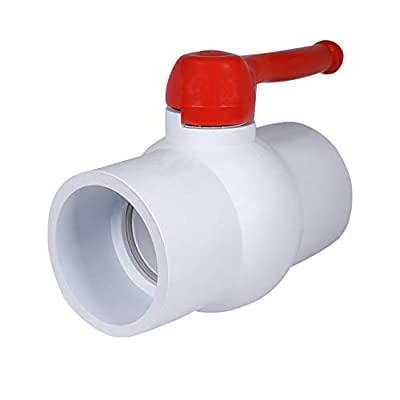 Midline Valve PVC Ball Valve Red T-Handle Water Shut-Off 6 in. Solvent Connections White Plastic (482T600) from Midline Valve
