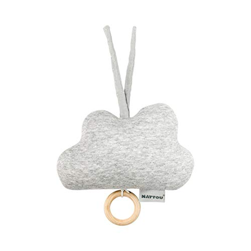 """Nattou PURE Spieluhr Wolke aus 100% Baumwolle, Ab der Geburt, Wiegelied """"La-Le-Lu"""", 20 x 18 x 6,5 cm, Grau, 998253"""