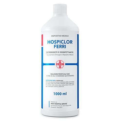 AIESI® Desinfektionsmittel für medizinische Instrumente und Geräte einsatzbereit basierend auf Benzalkoniumchlorid 1 Liter Flasche HOSPICLOR FERRI