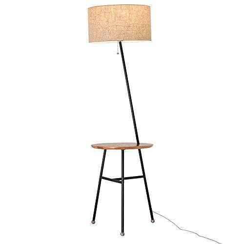 Creative-Eisen-Stehleuchte mit einer weißen Eiche Couchtisch Multifunktions-Lesestehleuchte mit USB-Lade Schnittstelle 1,57 M Höhe Leinen Lampshade Seilschaltern Wohnzimmer Metall Stehlampe