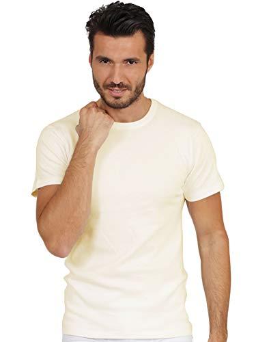 EGI Luxury 100% Merino Wool Men's Short Sleeve T-Shirt. Proudly Made in Italy. (5 (Large), Bianco)