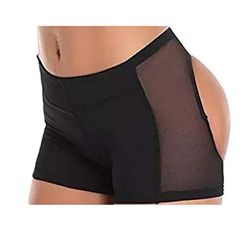 Lanfei - Braguitas/shorts para realzar y elevar los glúteos, para mujer y hombre - negro - M