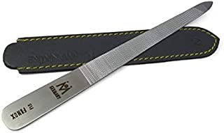 f15 - Double Sided Triple-cut Nail File FINOX Stainless Steel German Manicure File in Leather by GERmanikure