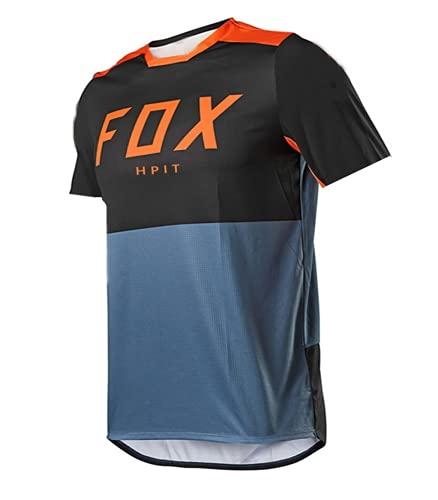 MTB Jersey Kurzarm,Mountainbike-Trikot für Männer Fox,Fahrrad Trikots Motocross BMX Racing T-Shirt Downhill Kurzarm Radsport Kleidung Fox MTB Jersey Lokomotive (Medium, Bild 17)