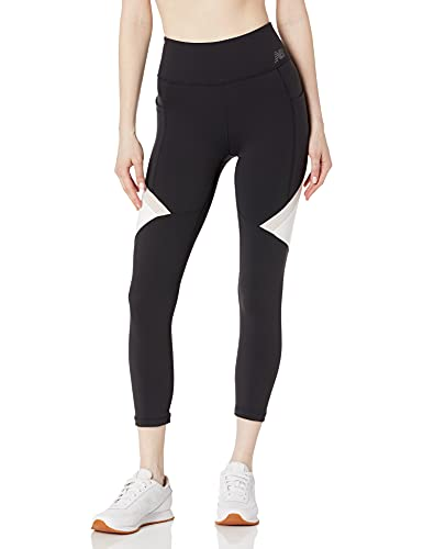 New Balance Highrise Transform Pocket Crop, Mujer Ajustada, Highrise Transform Pocket Crop, Negro/Blanco, X-Small
