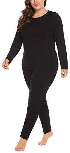 Women's Plus Size Long Johns Sets 2 Pcs Base Layer Sets Thermal Underwear Top & Bottom Pajamas(16W-28W) Black