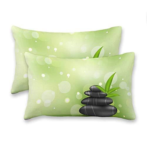 happygoluck1y - Juego de 2 fundas de cojín rectangulares, diseño de piedras Zen en la madera, textura de madera, 30 x 50 cm, decoración de casa de campo para sofá o sofá divertido regalos 2020