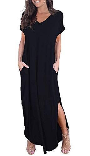 GRECERELLE Women's Casual Loose Pocket Long Dress Short Sleeve Split Maxi Dress Black X-Small