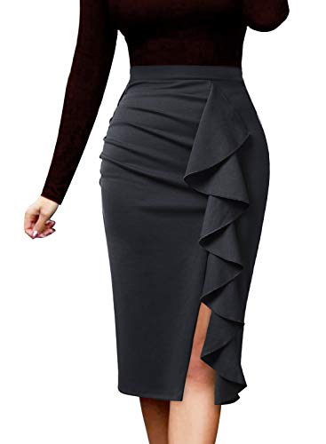VFSHOW Womens Grey Ruched Ruffle Split Slim Work Business Office Party Bodycon Pencil Skirt 2511 Gry L