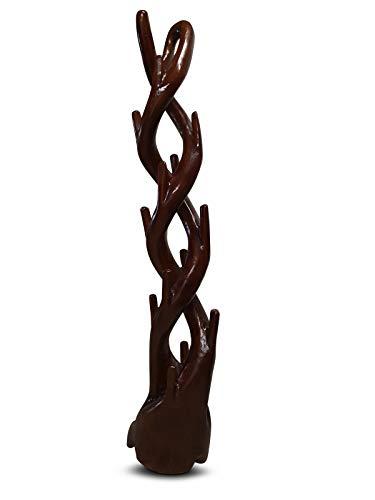 Kinaree Teak Holz Garderobe - Massivholz Garderobenständer - 190cm Baum Dekorativ und Edel