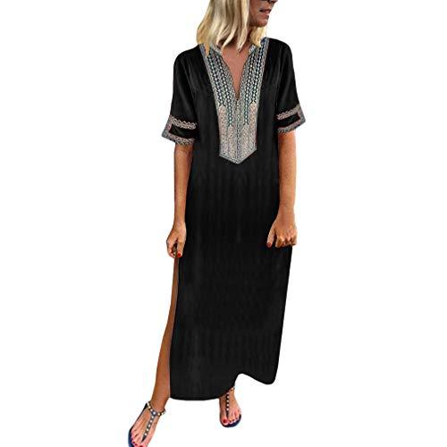 Kunfang Vestidos de Mujer Verano Manga Corta Casual Baggy Impresión Trabajo Playa Maxi Túnica Vestido con Cuello en v Kaftan Boho Vestidos Partidos