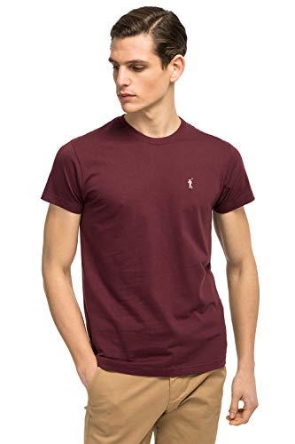 Camiseta Rojo Burdeos de Manga Corta para Hombre