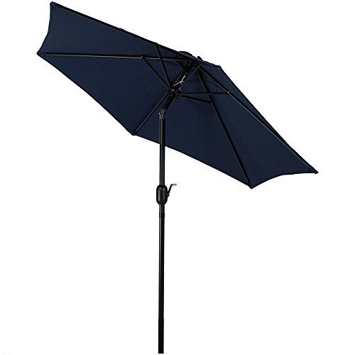 Sunnydaze 7.5 Foot Outdoor Patio Umbrella with Tilt & Crank, Aluminum, Blue