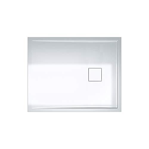 Sogood Duschtasse Duschwanne Geoma08W 80x100x5 flach Mineralgusswanne Rechteckig Weiß auch für bodenebene Montage möglich auch für ebenerdige Dusche geeignet