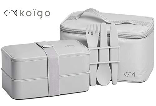 KOÏGO Original Lunchbox Bento Box, Grau, Besteck-Set, Kühltasche und E-book mit Rezept-Ideen I Brotdose mit 2 Behältern (1200 ml) I BPA frei I geeignet für Mikrowelle und Spülmaschine