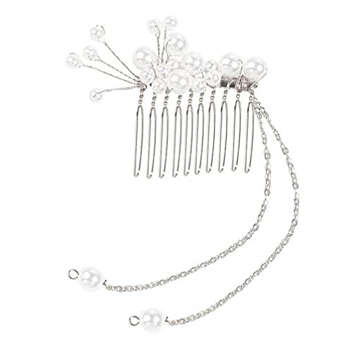 FRCOLOR Peine de Perlas para El Cabello de Novia con Cadena Colgante Accesorio para El Cabello de Boda