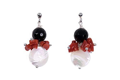MAGICMOON - Mod. VTP10000384 - Pendientes para mujer de ónix negro, coral rojo, nácar montados sobre plata 925 rodiada.