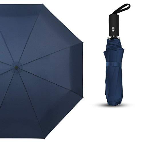 YNHNI Paraguas Tres Pliegue Paraguas Doble Uso Paraguas automático Plegable Paraguas sólido Color Paraguas,Portátil (Color : Blue)