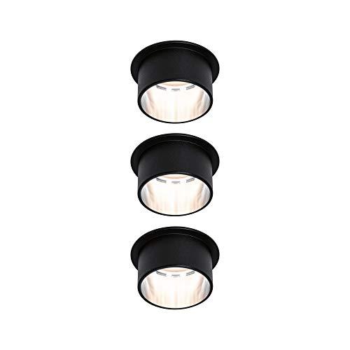 Paulmann Gil 93383 - Foco led empotrable (3 focos, redondo, incluye 3 bombillas de 6 W, intensidad regulable, hierro cepillado, aluminio, 2700 K), color negro mate