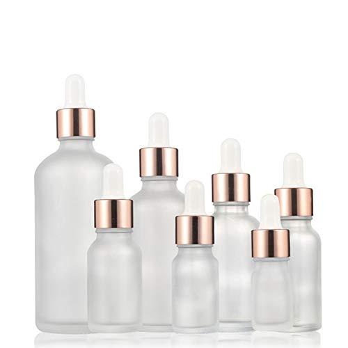 WZCXYX Botella Cuentagotas Recargable Rosa Dorada De 7 Piezas, Aceite Esencial Helado, Líquido De Aromaterapia De Vidrio, Gota De 5-100 Ml para Masaje, Botellas De Pipeta