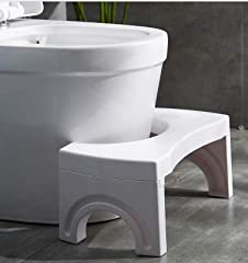 Folding toilet stool: Built with 100% new ABS material.Our toilet stool helps keep your feet in place and achieve painless, strain-free bowel movements by positioning your body in a natural squat position. Provides the Proper Squatting Posture to Hel...