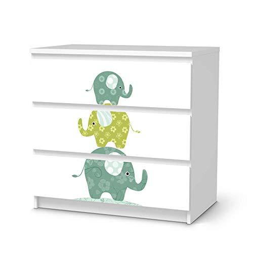 creatisto Möbeltattoo für Kinder - passend für IKEA Malm Kommode 3 Schubladen I Tolle Möbeldekoration für Baby-Zimmer Deko I Design: Elephants