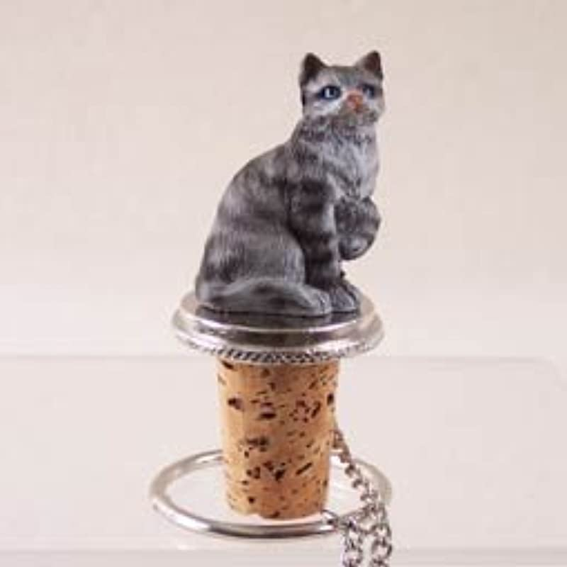 Shorthair Silver Tabby Cat Wine Bottle Stopper CTB01 By Conversation Concepts