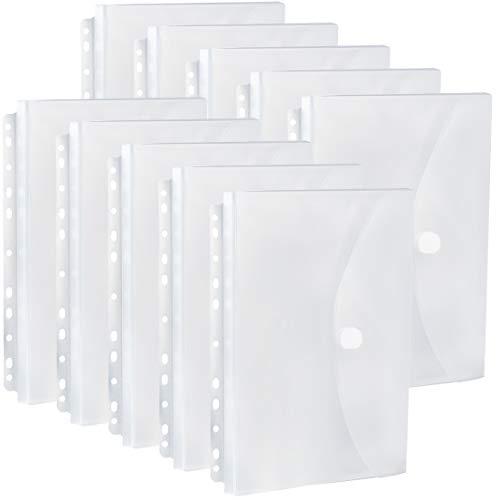 FANWU 10 Pack Expandable Poly Binder Pocket, 3/4-inch Gusset, Letter Size, 11 Holes Punched, Index Dividers Pocket Folders Plastic Envelopes Clear Document Folders for Ring Binder