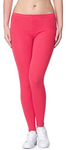 Ladeheid Damen Leggings Long aus Baumwolle LAMA02 (Rosa21, XS/S)