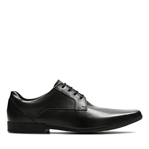 Clarks Glement Lace, Zapatos de Cordones Derby para Hombre, Negro (Black Leather), 43 EU
