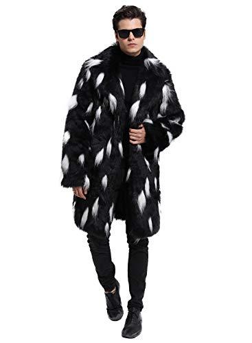 Lafee Bridal Men's Luxury Faux Fur Coat Jacket Winter Warm Long Coats Overwear Outwear Black XXXL