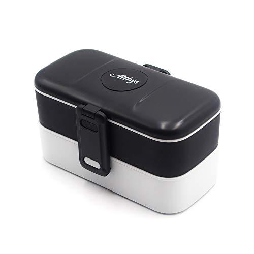 Atthys® - Lunch Box Noir Boite Alimentaire Design avec 2 Couverts en Inox | Bento Box 2 Compartiments Hermétiques 1200 ML | Micro-Ondes et Lave-Vaisselle | Boîte Déjeuner Adultes ou Enfants Premium