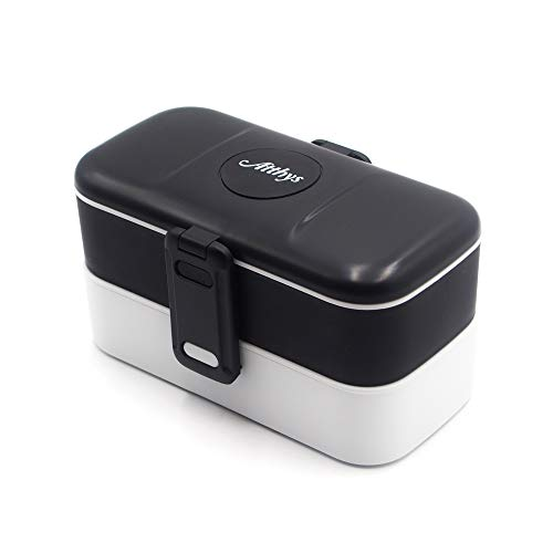 Atthys® Lunch Box Noir Boite Alimentaire Design avec 2 Couverts en INOX   Bento Box 2 Compartiments Hermétiques 1200 ML   Micro-Ondes et Lave-Vaisselle   Boîte Déjeuner Adultes ou Enfants Premium
