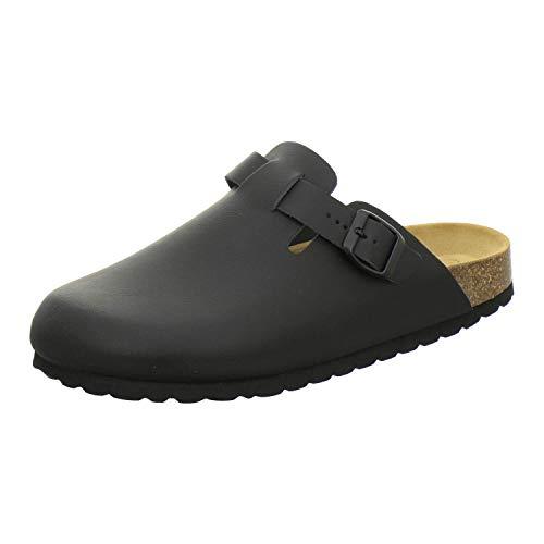 AFS-Schuhe 3900 Herren Clogs, Bequeme Hausschuhe für Männer, Pantoffeln aus Leder, Made in Germany (45 EU, schwarz)
