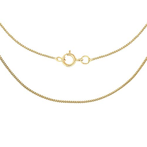 Carissima Gold Women's 9 ct Yellow Gold 0.6 mm Diamond Cut Curb Chain Necklace of Length 41 cm/16 Inch