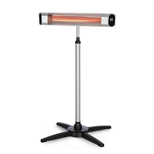 blumfeldt Dark Wave Stand Heat Line - Chauffage Radiant sur Pied, 2000W, 9 Niveaux, Tube en Carbone Infrarouge doré, Ecran LED, Minuterie, Classe IP65, Fixation Murale ou sur Pied, Argent