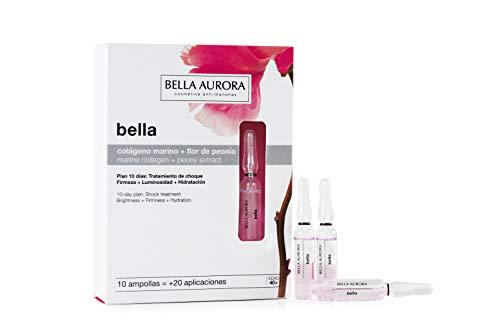 Bella Aurora Ampollas Faciales con Colágeno Marino y Flor de Peonía, 10 x 2 ml | Piel Fatigada, Apagada y Deshidratada | Combate las Arrugas y Flacidez | Bella