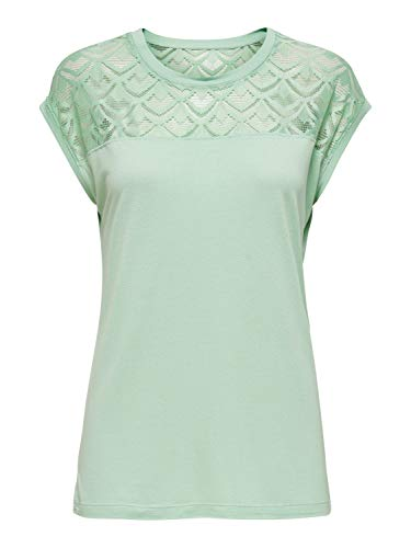 ONLY Womens ONLNICOLE Life S/S Mix TOP NOOS T-Shirt, Aqua Foam, S