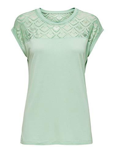 ONLY Womens ONLNICOLE Life S/S Mix TOP NOOS T-Shirt, Aqua Foam, M